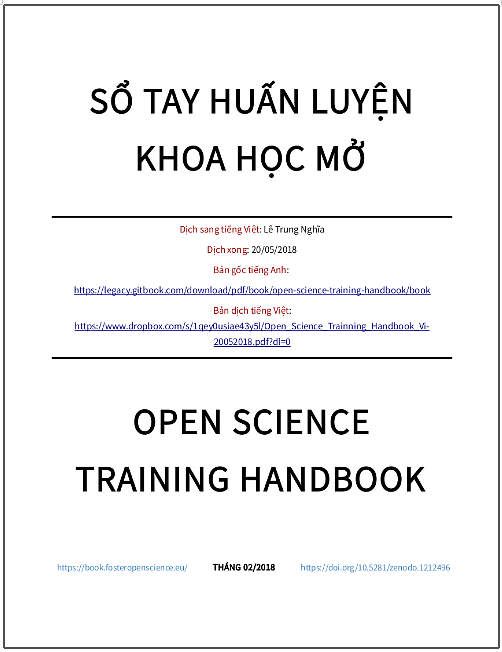 'Sổ tay huấn luyện Khoa học Mở' - bản dịch sang tiếng Việt