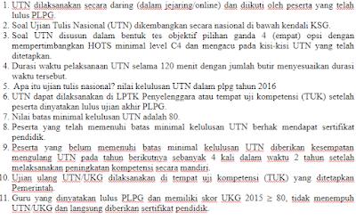 Ujian Tulis Nasional ini dilakukan untuk para peserta sertifikasi yang mengikuti PLPG Soal UTN PLPG Lengkap