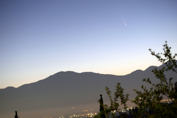 An image I took of comet NEOWISE lurking high above the San Gabriel Mountains in Southern California...on July 10, 2020.