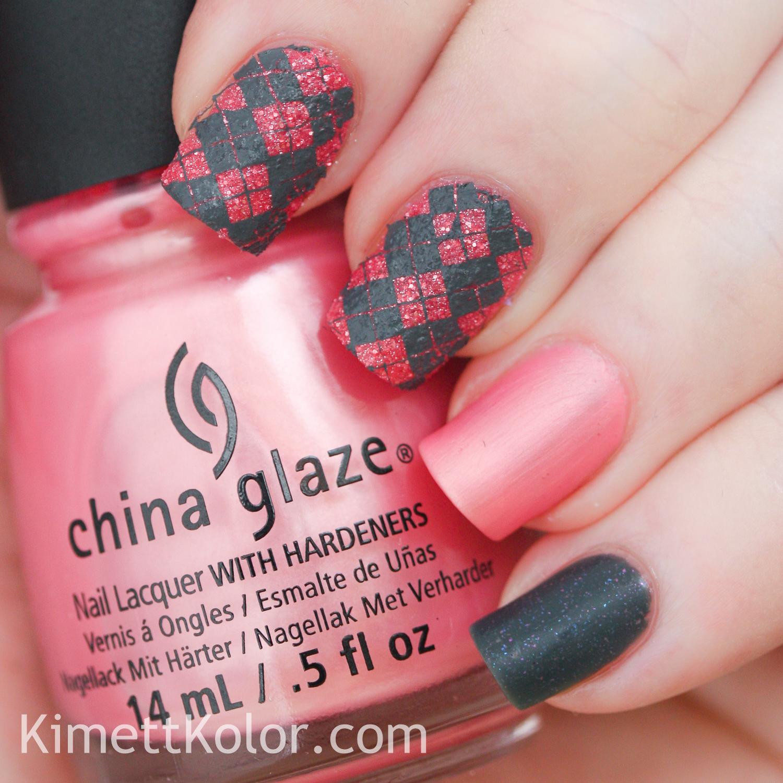 KimettKolor China Glaze grey pink nail art