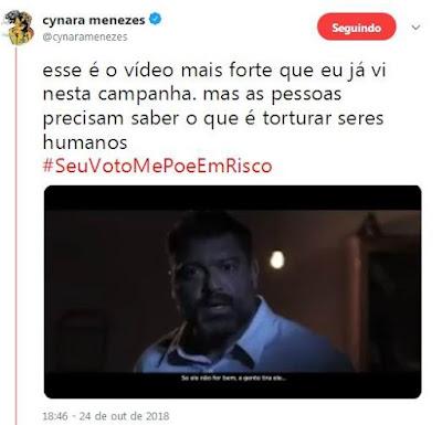 Print do tuíte da Cynara Menezes
