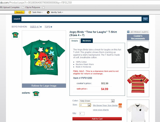 angry birds shirt, Cookie's Kids