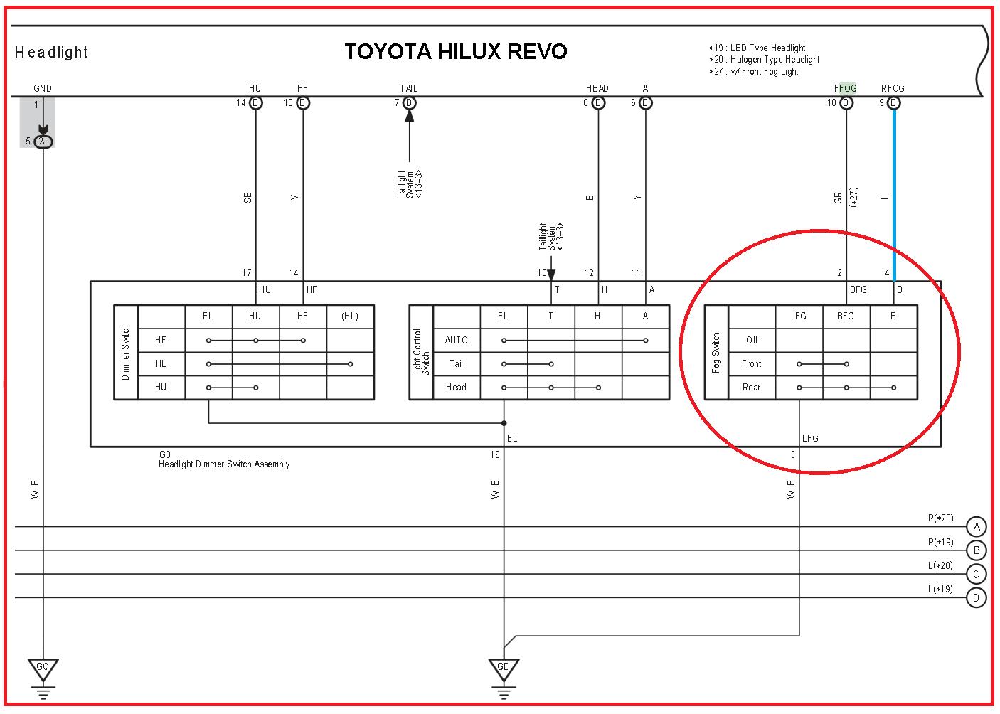 Toyota Hilux Revo Wiring Engine Diagram Rear Fog