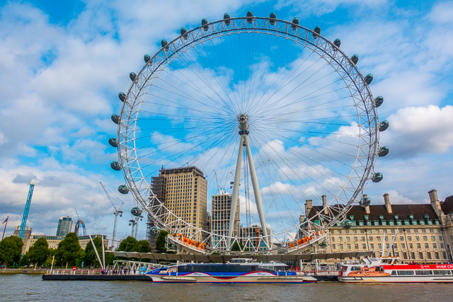 View of The London Eye from Thames River Boat - London, England