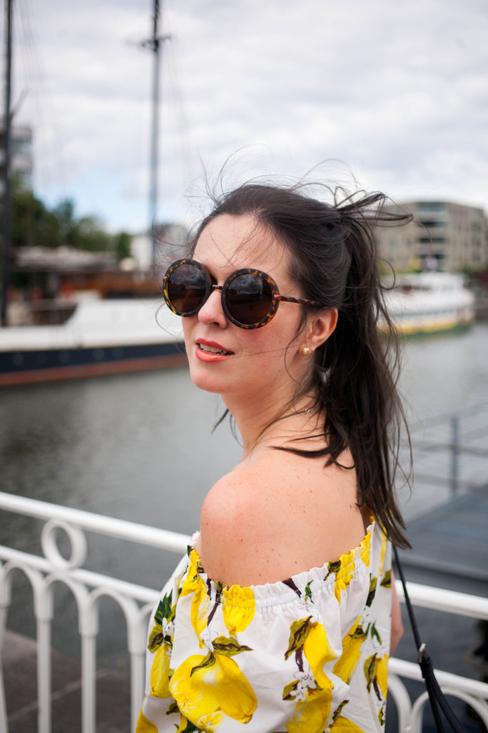 Outfit: lemon print off shoulder top, tortoise sunnies