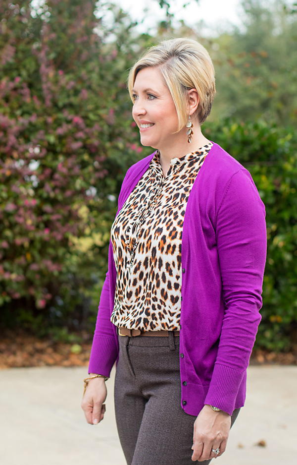 purple cardigan, leopard print top