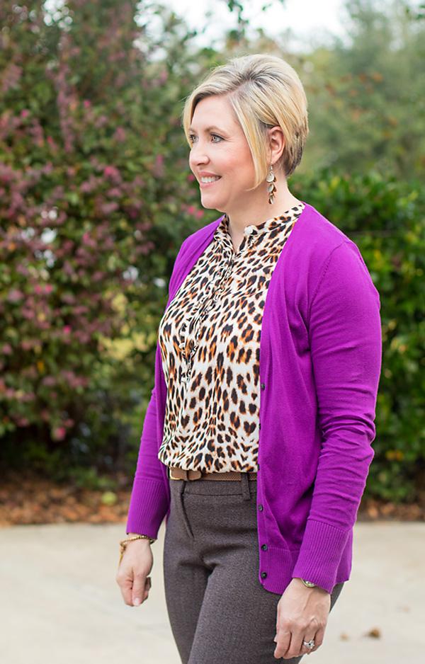 purple cardigan, leopard print top