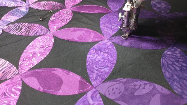 Purple ombre orange peel quilt with Island Batik fabrics