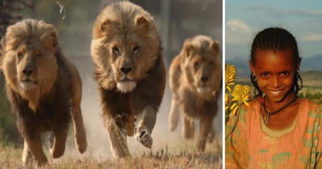 """3 feroces leones defienden y rescatan a una niña de las manos de 7 """"salvajes"""" secuestradores"""