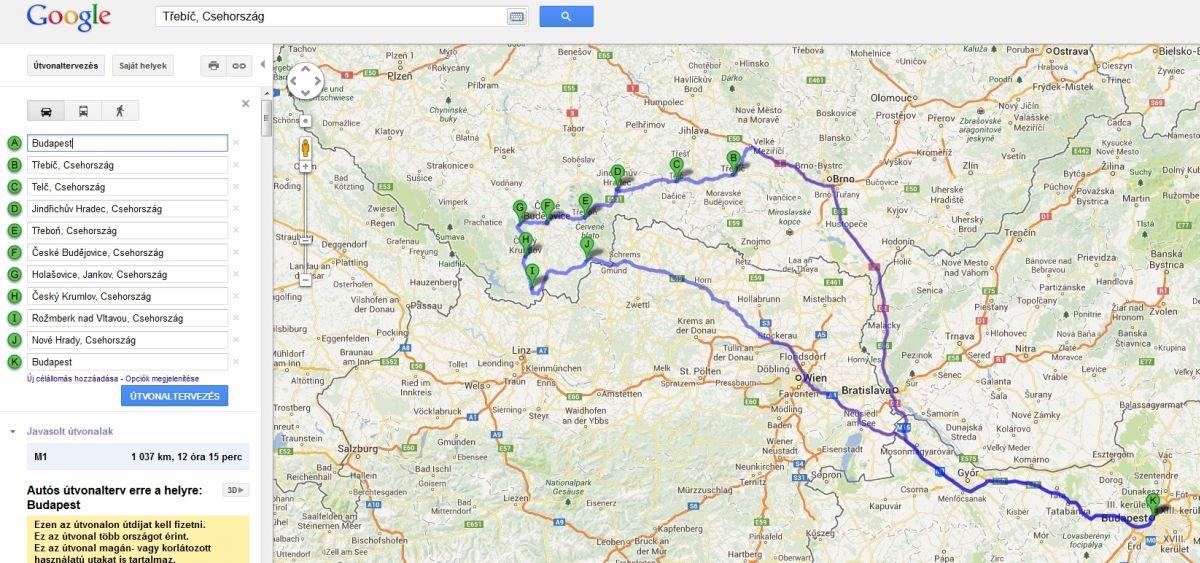 budapest prága útvonal térkép Irány Csehország!: Csehországi utazás: Útvonal javaslat I. – Dél  budapest prága útvonal térkép