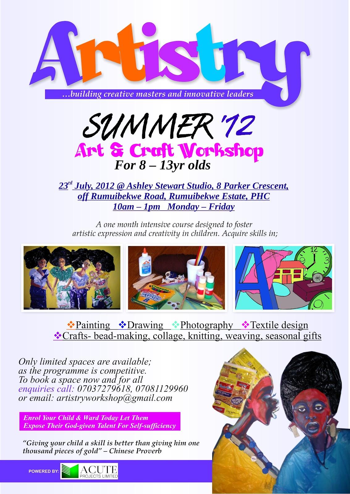 Artistry Art Craft Workshop Artistry Summer 2012 Art Craft