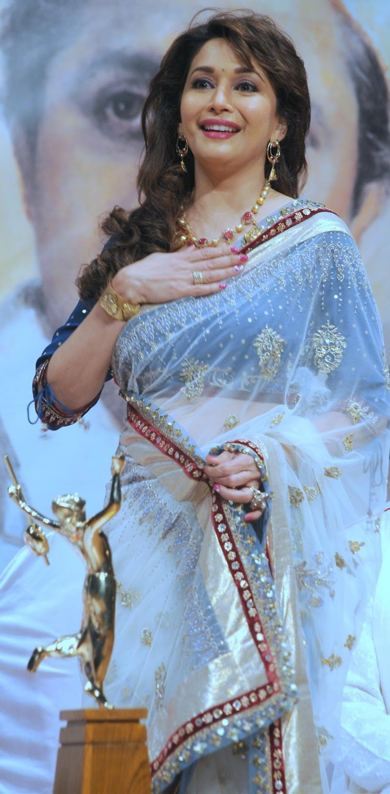 Indian Actress Hot Women Madhuri Dixit Blue Designer Saree