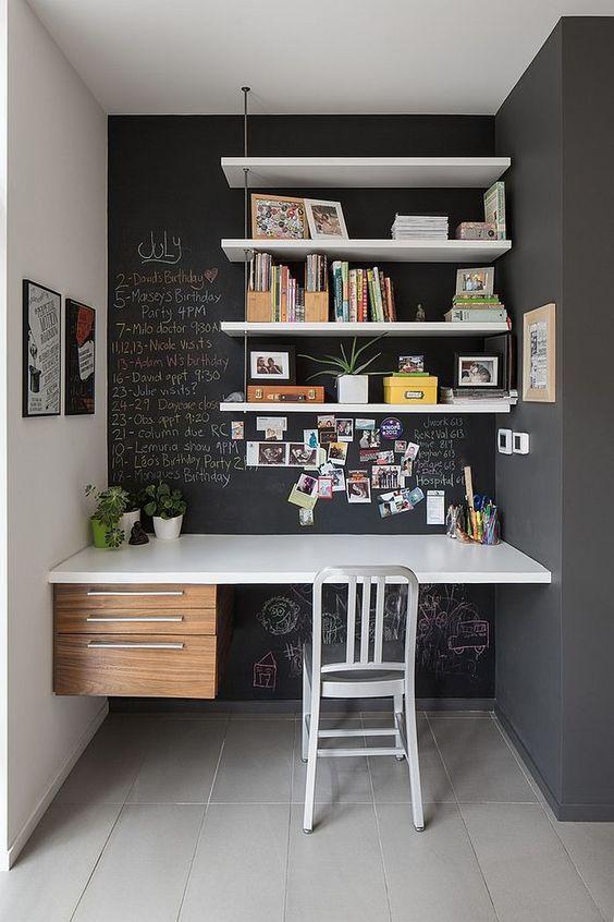decoração de home office moderno pequeno