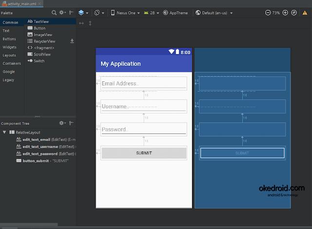 Contoh desain layout Formulir Form Registrasi Pendaftaran Input kosong di Android Studio