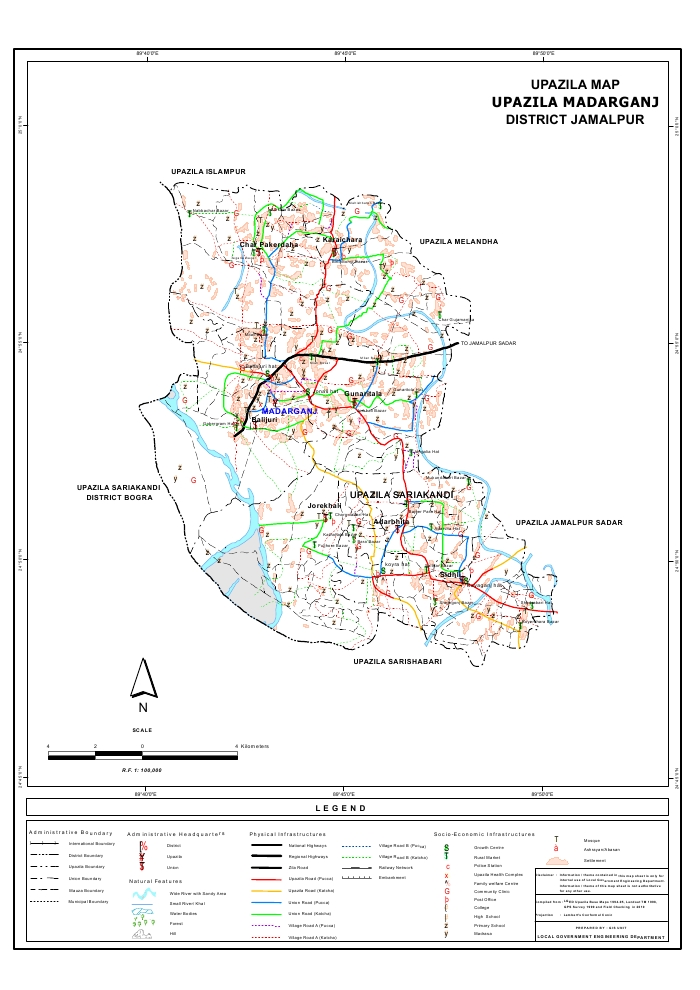 Madarganj Upazila Map Jamalpur District Bangladesh