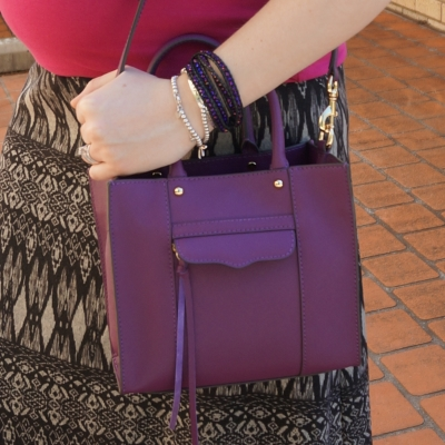 Away from the Blue | printed maxi skirt Rebecca Minkoff mini MAB tote bag plum