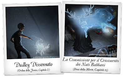 Due diverse illustrazioni del Patronus di Harry
