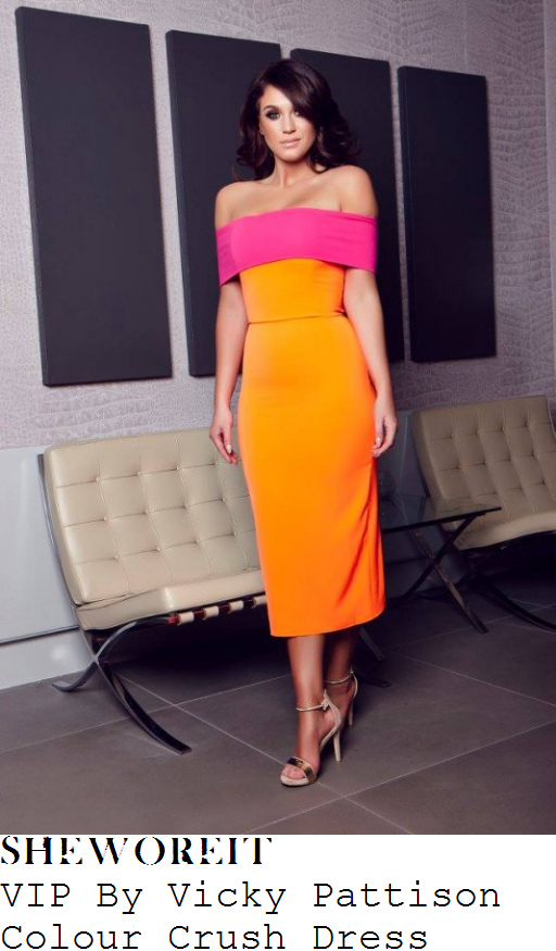 vicky-pattison-vip-by-vicky-pattison-colour-crush-bright-orange-and-pink-off-the-shoulder-bardot-neckline-bodycon-pencil-midi-dress