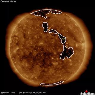 ALERTAS: viento solar hacia la tierra , por enorme hoyo coronal.