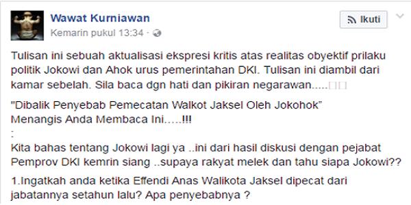 Mantan Donatur Jokowi BONGKAR Penyebab Pemecatan Effendi Anas Oleh Ahok