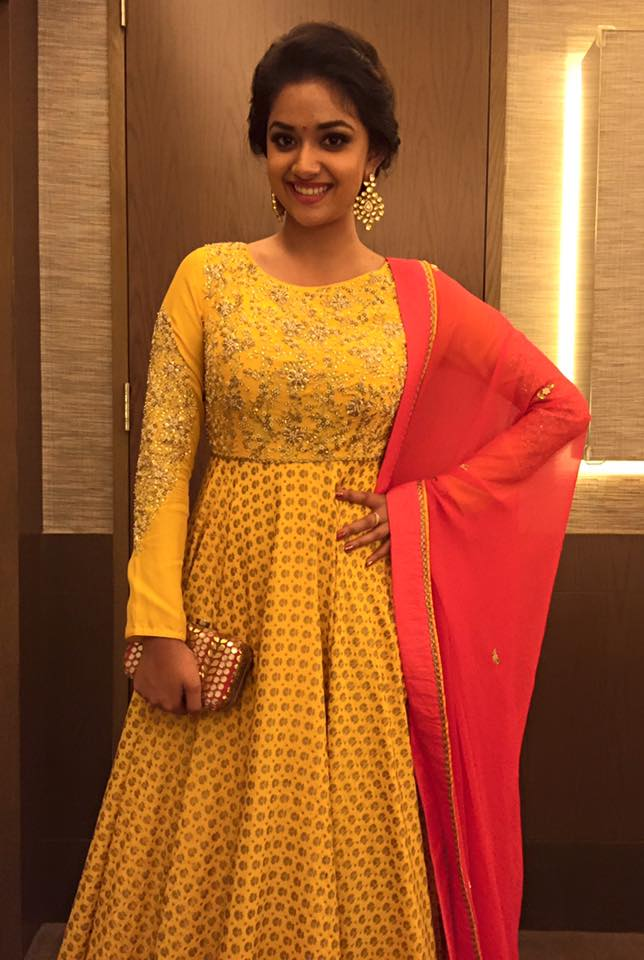 Keerthy Suresh Photos At Awards Function In Yellow Dress