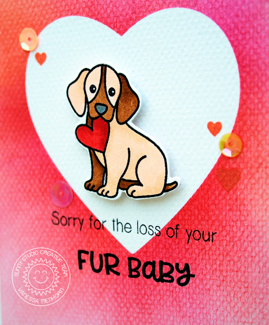 Sunny Studio Stamps: Pet Sympathy Masked Heart Puppy Sympathy Card by Vanessa Menhorn