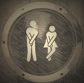 drawing of people needing the loo