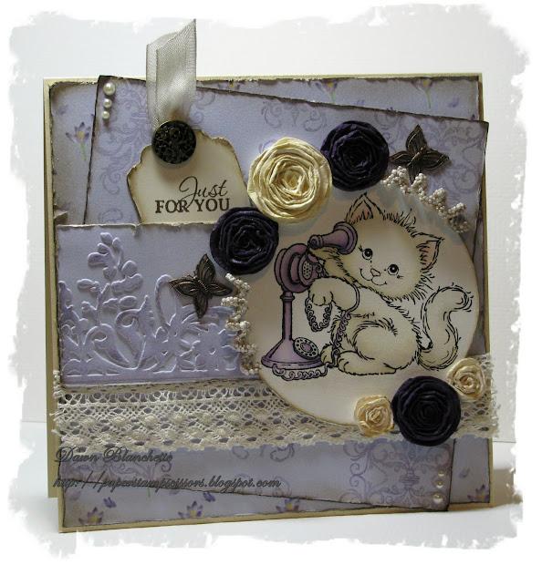 Paper Stamp Scissors Vintage Kitty