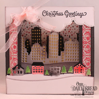 Our Daily Bread Designs Stamp Set: Christmas Card Verses, Paper Collection: Christmas 2014,Custom Dies: Diorama With Layers, City Skyline, Cloud Borders, Neighborhood Border, Bethlehem