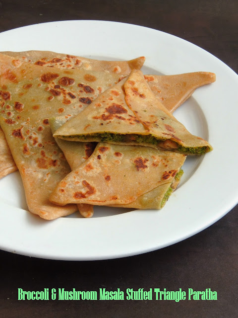 Broccoli & Mushroom Masala Stuffed Triangle Paratha