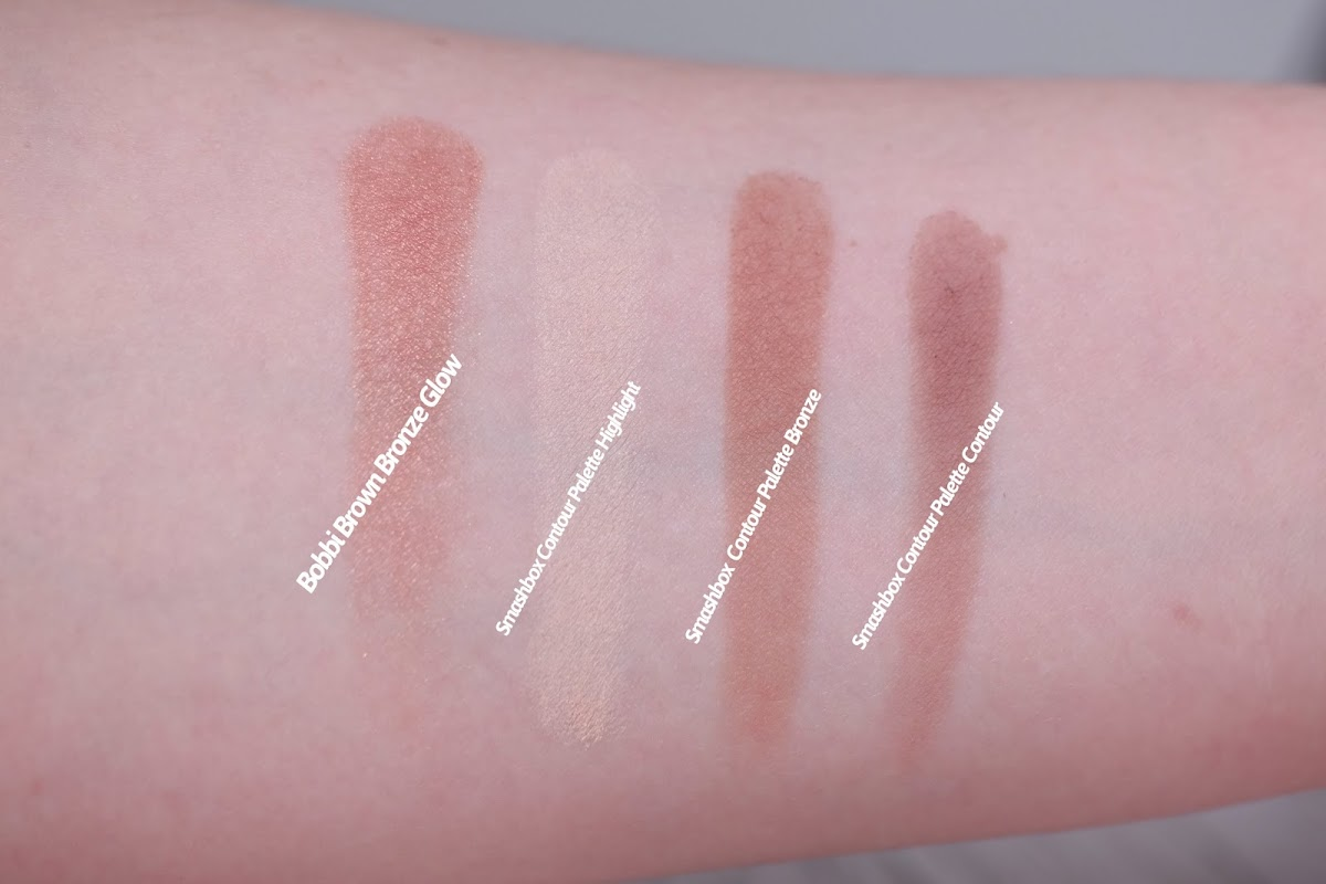 Swatches Smashbox contour Palette Bobbi Brown Bronze Glow