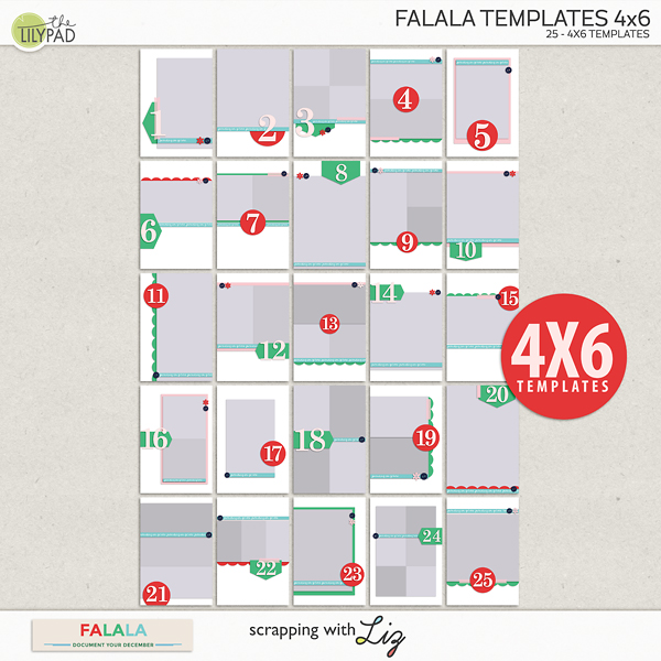scrapping with liz falala 4x6 templates 12x12 christmas page