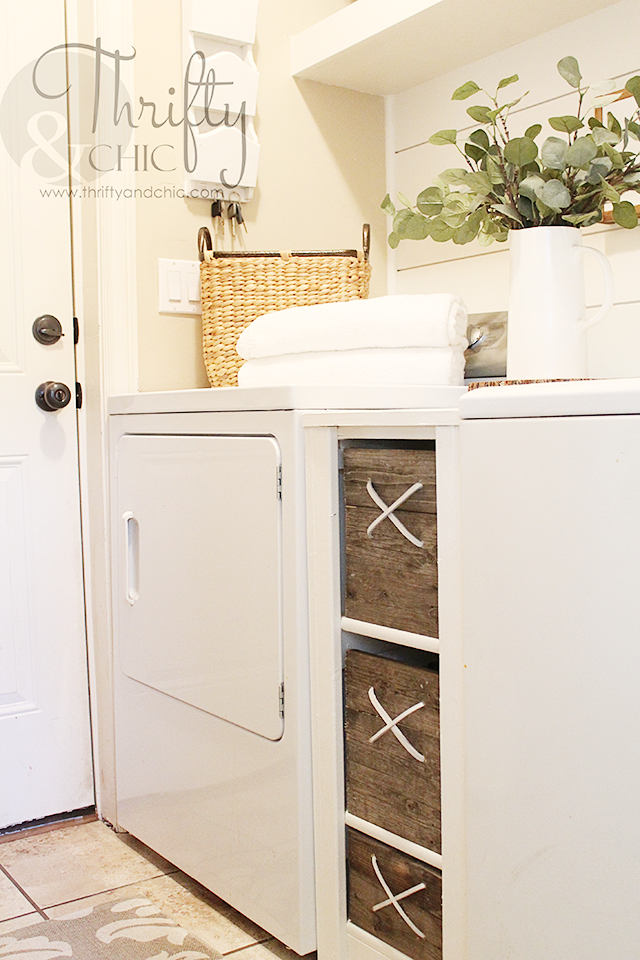 DIY In Between Washer And Dryer Storage Cabinet For The Laundry Room |  Small Laundry Room