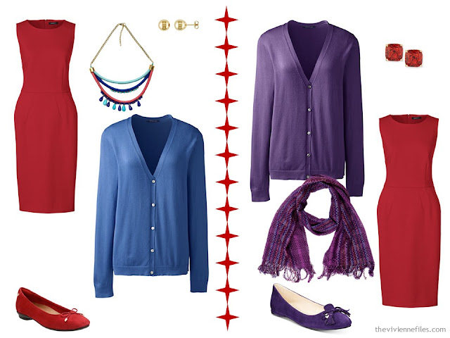 How to wear a red dress with a blue cardigan, or a purple cardigan