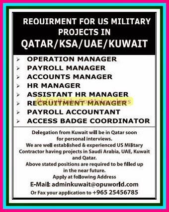 Military Project Job Vacancies for Qatar, KSA, UAE & Kuwait - Gulf