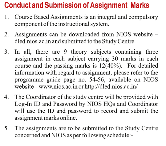 nios deled assignment marks