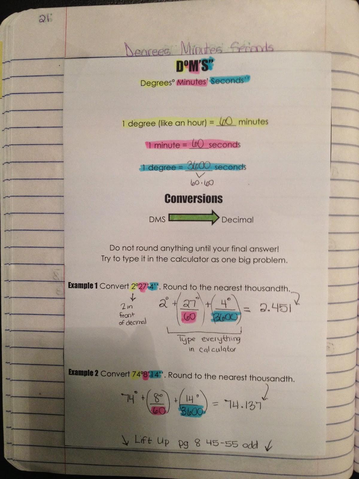 Misscalcul8 Trig Unit 1 Interactive Notebook