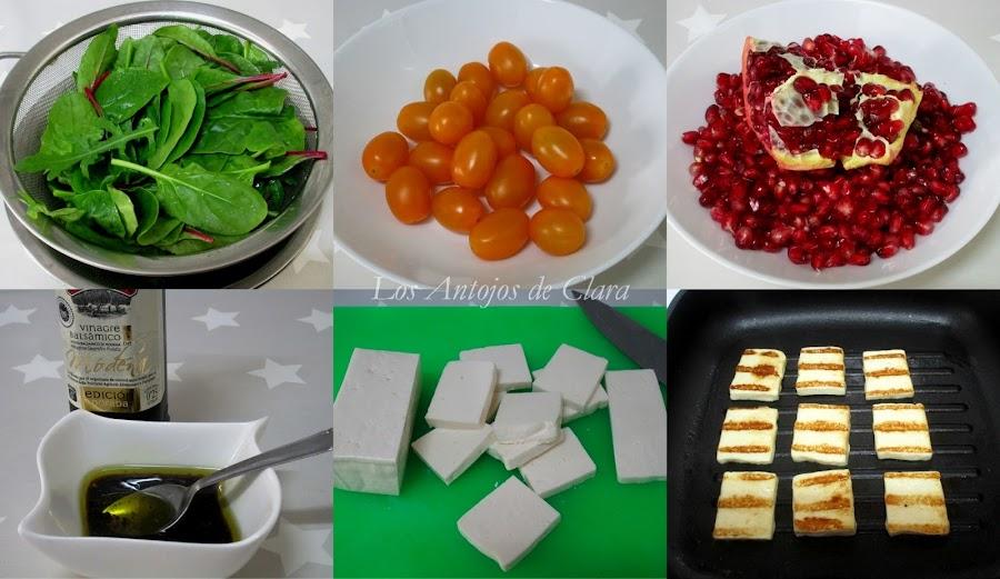 Preparación ensalada de espinacas