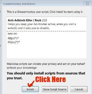 how to bypass ad blocker detected sites with Greasemonkey Userscript
