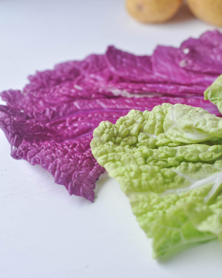 green and purple Napa Cabbage, veggies can be so beautiful!