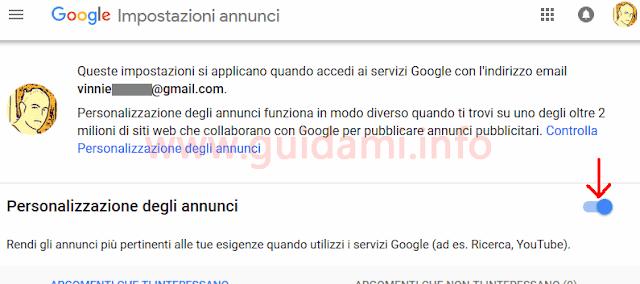 Google pagina Impostazioni annunci