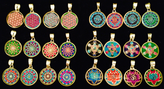 Sacred geometry pendants pendant store we are happy to announce our new mini 1 inch pendants they come in 6 different designs flower of life sri yantra sahasrara metatrons cube aloadofball Gallery