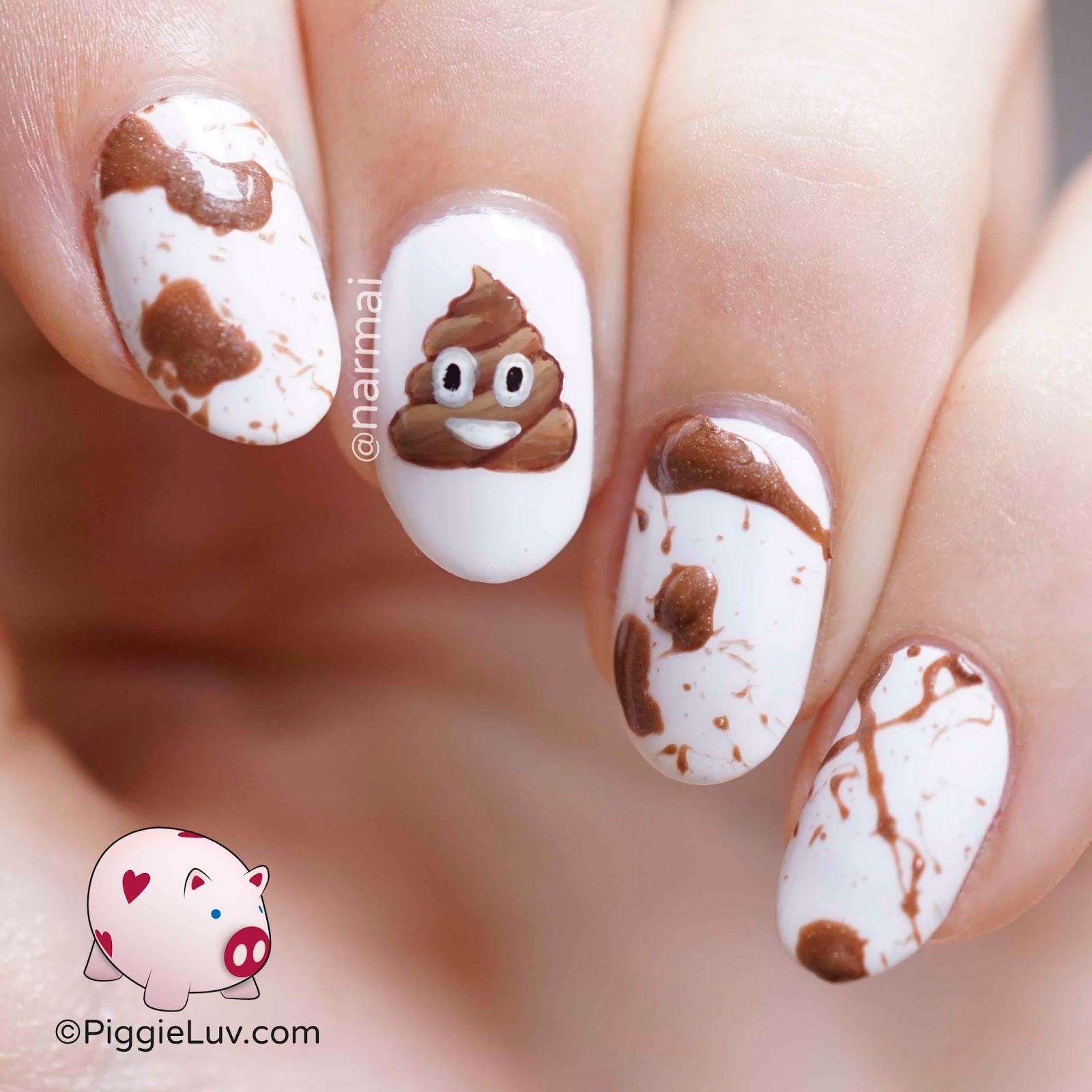 Piggieluv Poop Emoji Nail Art