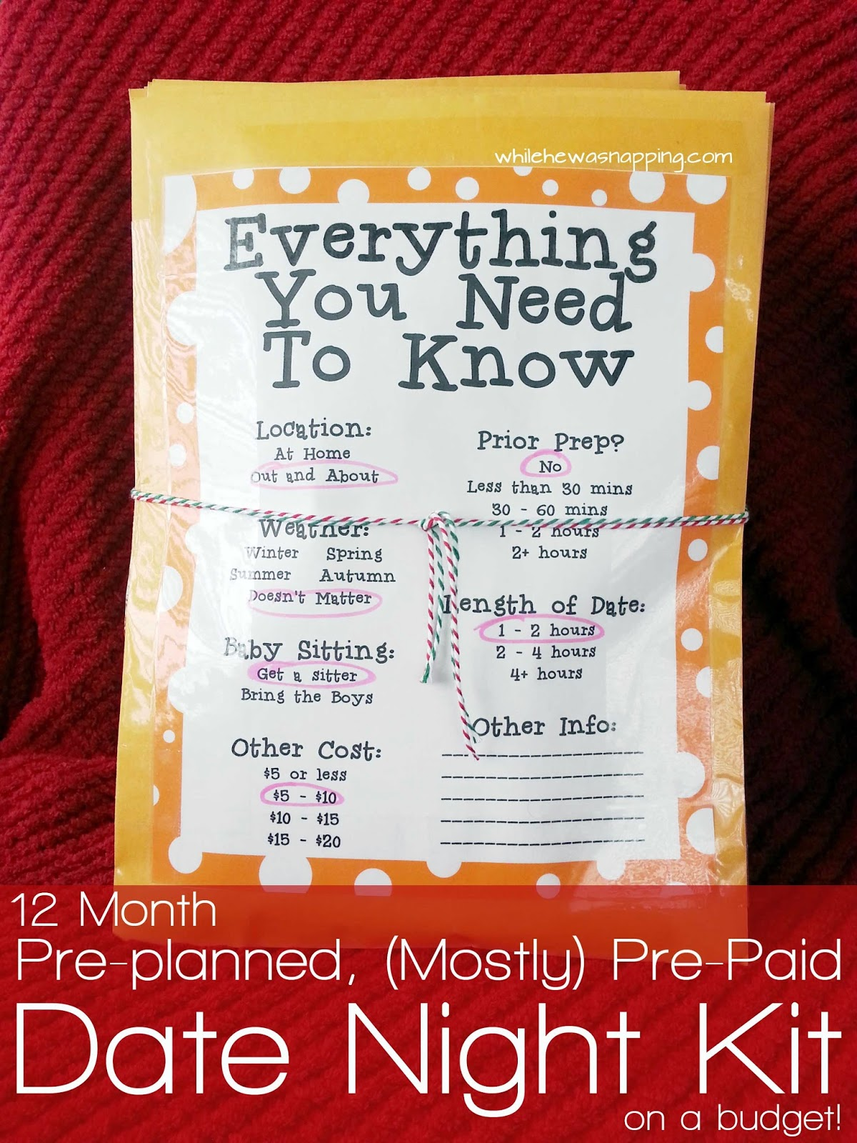 12 Month Pre Planned Mostly Pre Paid Date Night Kit