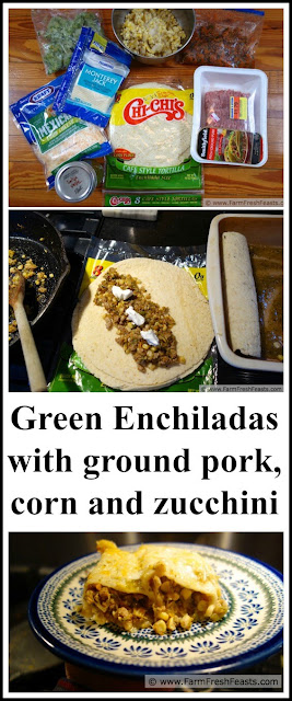 Ground pork sautéed with zucchini and corn makes the filling for these green salsa verde enchiladas. Home-canned sauces enjoyed all year long.