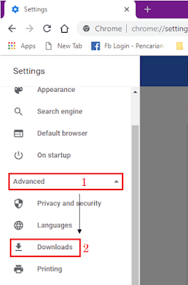 Gambar ilustrasi tampilan menu Settings di Google Chrome