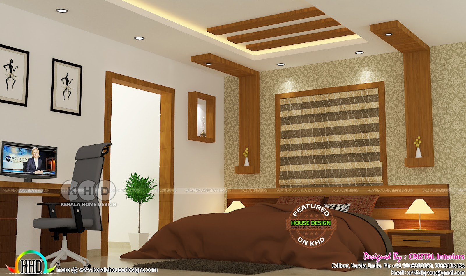 Bedroom kitchen and living interior kerala home design for House interior design bedroom