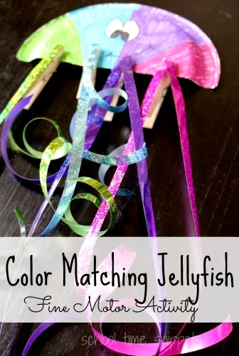 Fine Motor Activity exploring colors in this cute Color Matching Jellyfish Activity