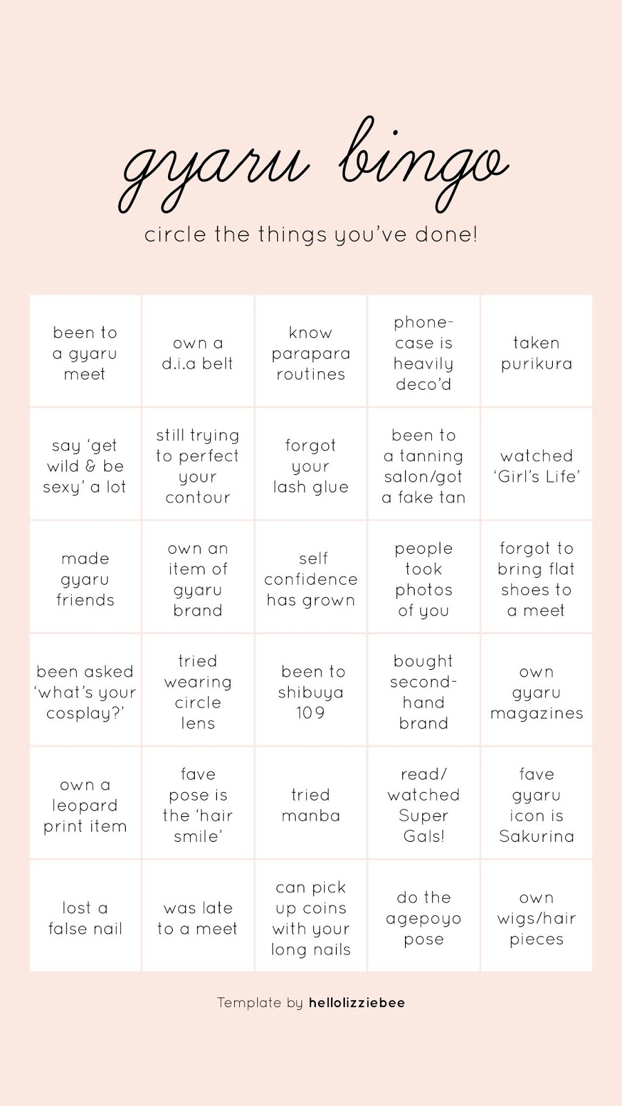 gyaru bingo - instagram stories template