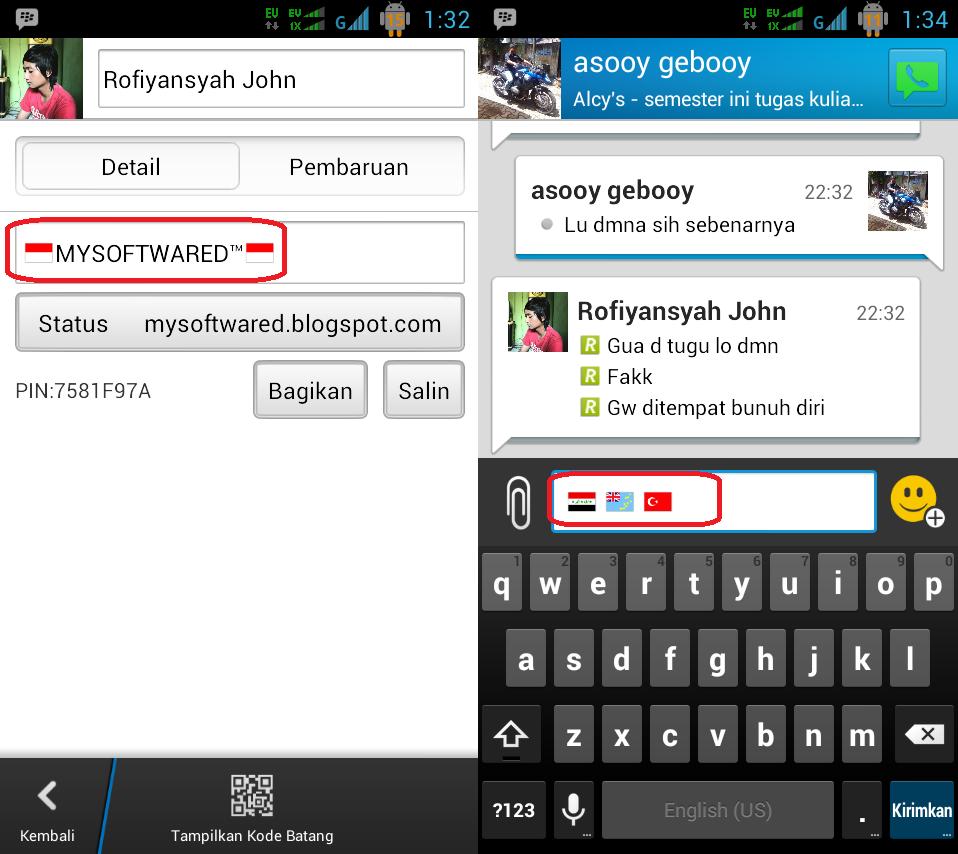 Cara Membuat Icon Bendera pada Status dan Chat di BBM Android